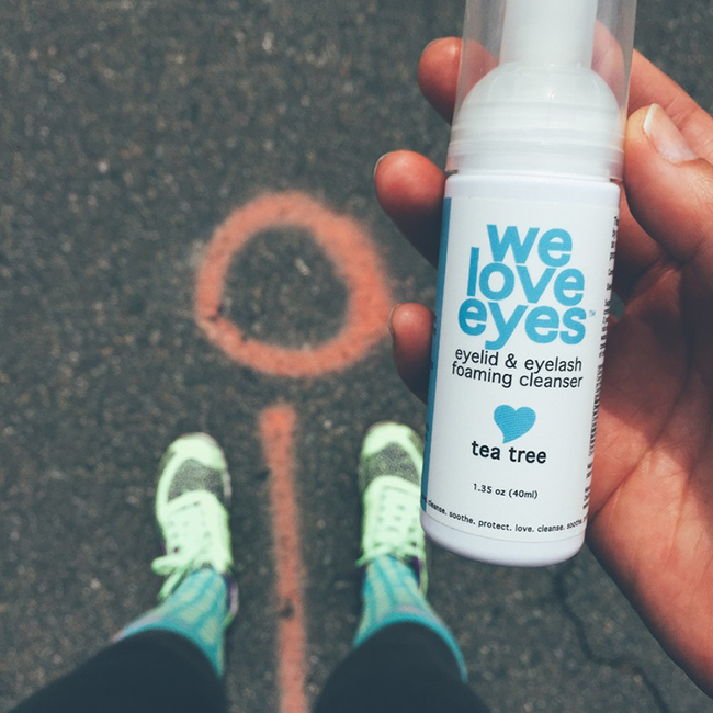 Photo of WE LOVE EYES Tea Tree Foaming Cleanser for the eyes while I'm working out at my Crossfit gym. Stupid sweat in my eyes making my eyes burn!