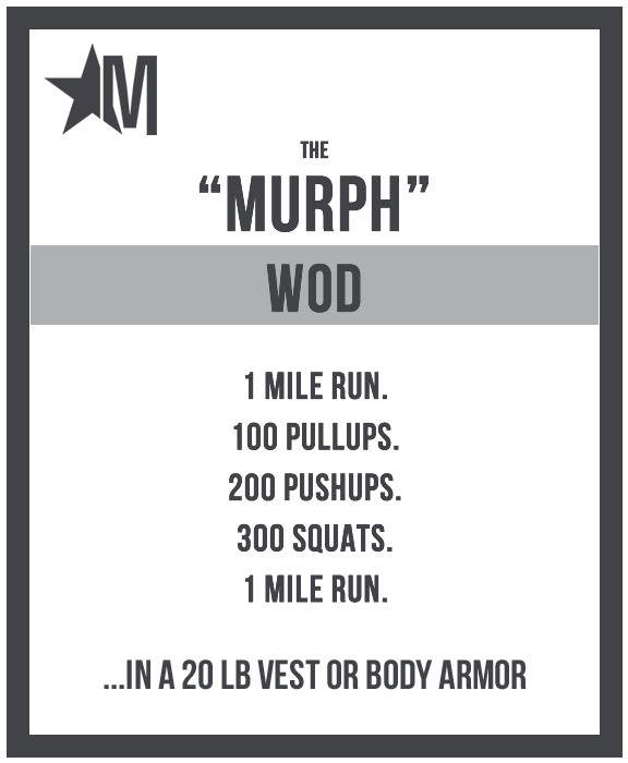 Image credit www.murphchallenge.com.If you would like to participate in the Murp workout next year, you can click here for the Murph Challenge .